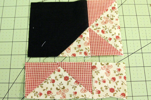 sew the flying geese to the background square