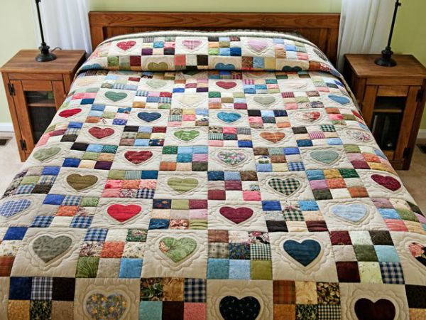 Made for Adley -- Heart and 9 Patch Quilt