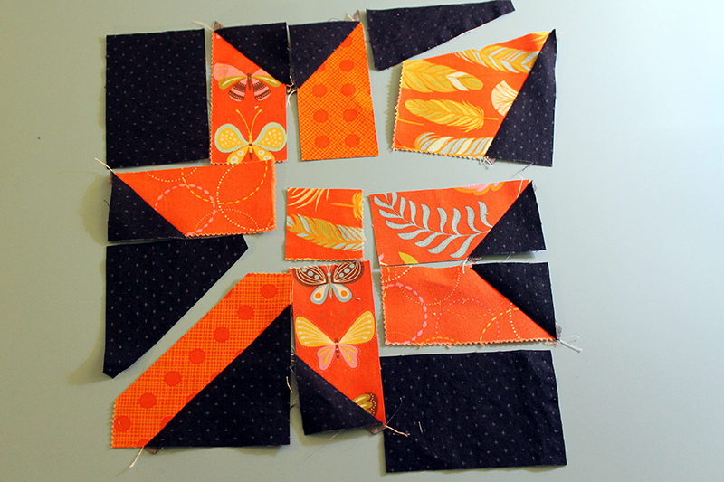 orange leaf with Wing and Leaf charm pack from Moda